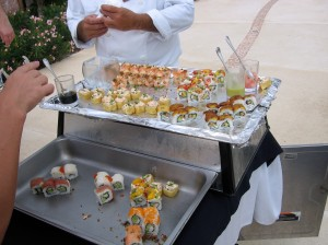 Roving sushi cart providing an afternoon snack to pool dwellers