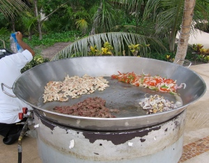 Tacos prepared for lunch by the pool - chicken, beef, seafood or one of each!
