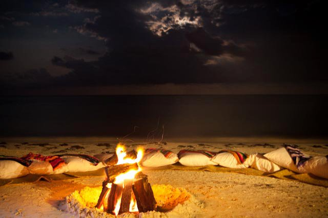 secrc bonfire on beach