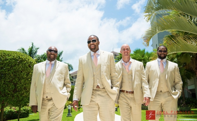 Balaram and the groomsmen pose in perfect formation in front of the resort!