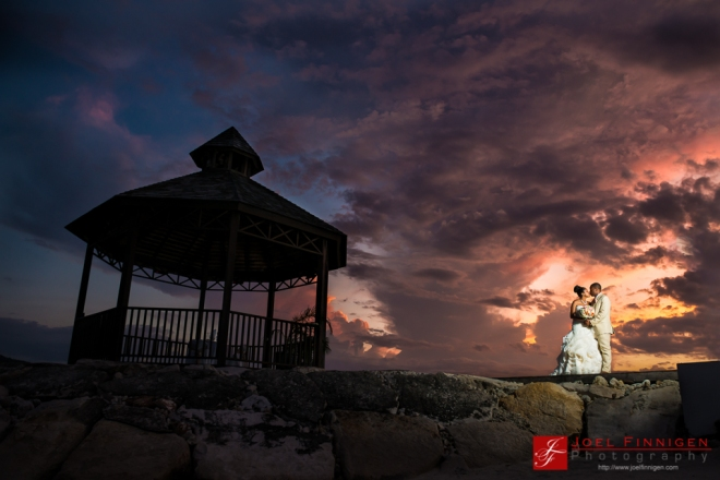 Yet another spectacular sunset at Secrets St. James marks the end of the perfect day for Christa and Balaram.
