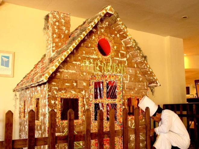 This Secrets Capri Riviera Cancun gingerbread house is almost life-size!