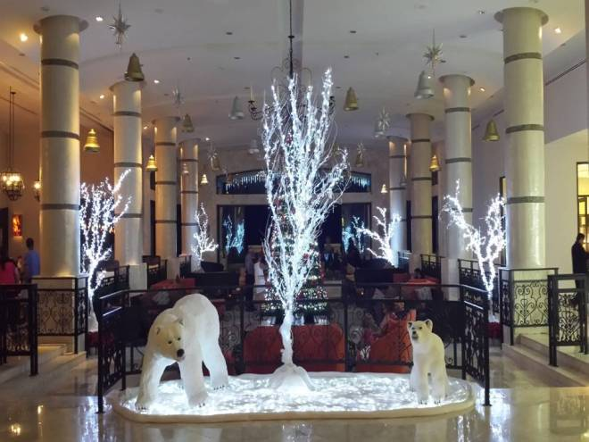 The lobby at Secrets Maroma Beach Riviera Cancun is transformed into a winer wonderland!