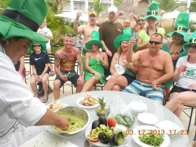 Guests watched an exciting guacamole demonstration on St. Pattys day at Secrets Aura Cozumel last year.