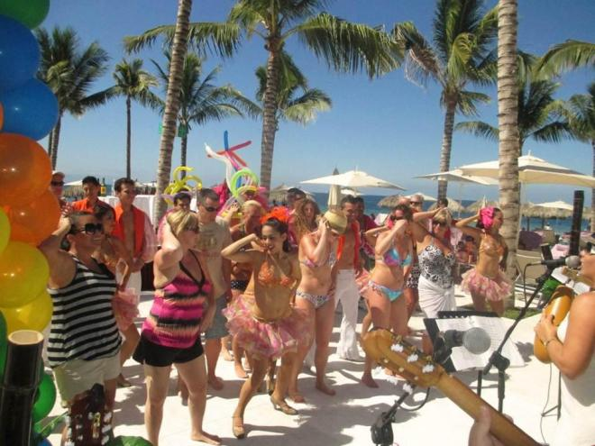 Guests danced in the sun last year for Mardi Gras at Secrets Vallarta Bay Puerto Vallarta