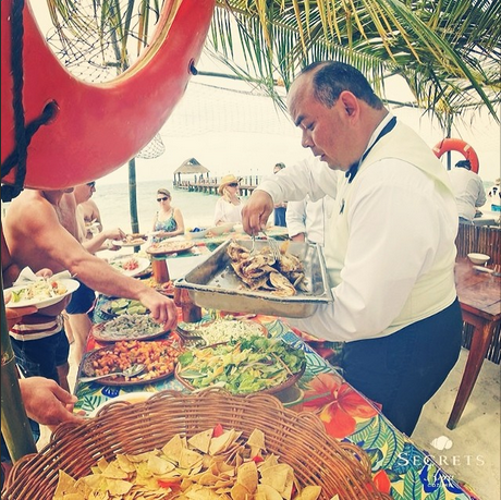 Guests are treated to fresh seafood and traditional Mexican cuisine right on the beach at Secrets Aura Cozumel!