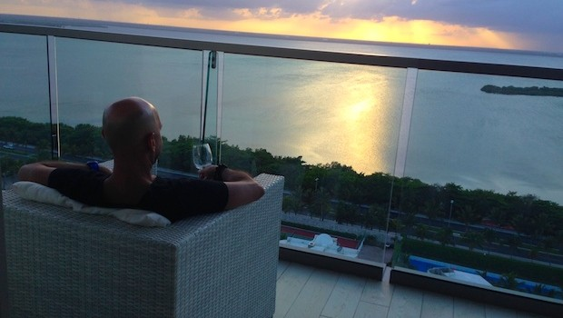 Enjoying the incredible view at Secrets The Vine Cancun! Photo credit: Mark Chestnut
