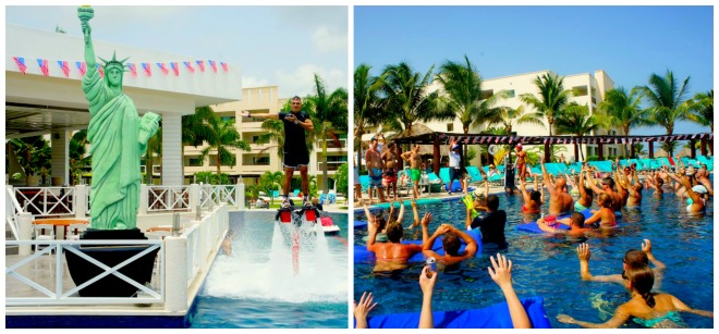 The Statue of Liberty made a poolside appearance at Secrets Silversands Riviera Cancun.
