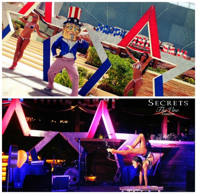The ladies of the Secrets The Vine Cancun Entertainment Team sizzled at their 4th of July blow-out!