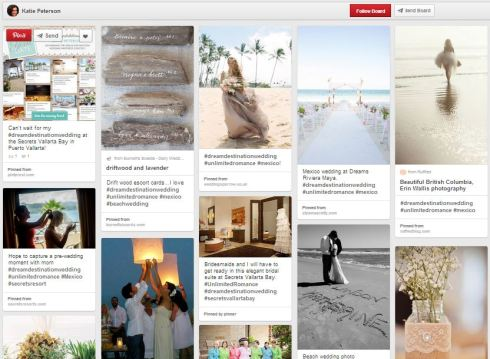Katie Peterson's Dream Destination Wedding Pinterest contest board.
